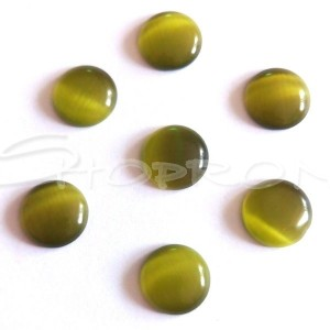 Cabochon Cat Eye, rotund-plat, 9-11x3 mm