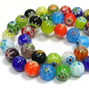 Margele Millefiori 6mm, multicolore (10buc)
